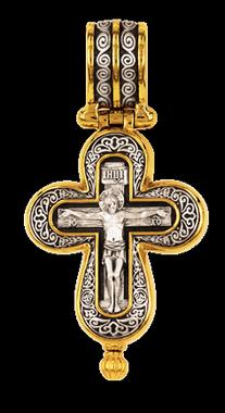Православный крест-энколпион Валаамская икона Божией Матери Блаженные Ксения Петербургская и Матрона Московская