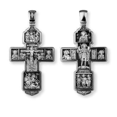 Распятие Христово с предстоящими Святая Троица Архангел Михаил Св Воины Тихвинская икона БМ
